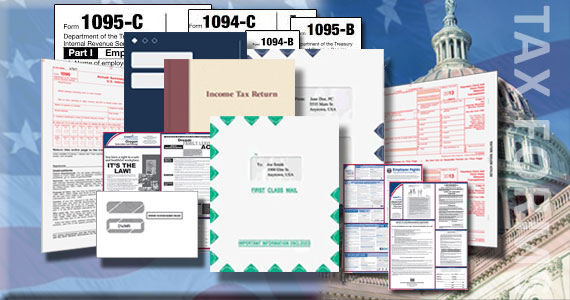 W-2 and 1099 forms, envelopes, income tax folders, labor law posters